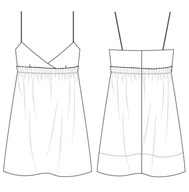 细吊带睡衣款式图-内衣/家居设计-服装设计图片