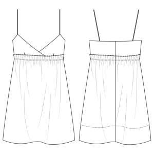 细吊带睡衣款式图-内衣/家居设计-服装设计-服装设计