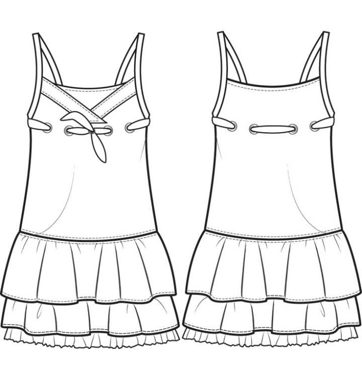 裙子款式图-童装设计-服装设计