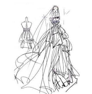 婚纱线稿-婚纱礼服设计-服装设计