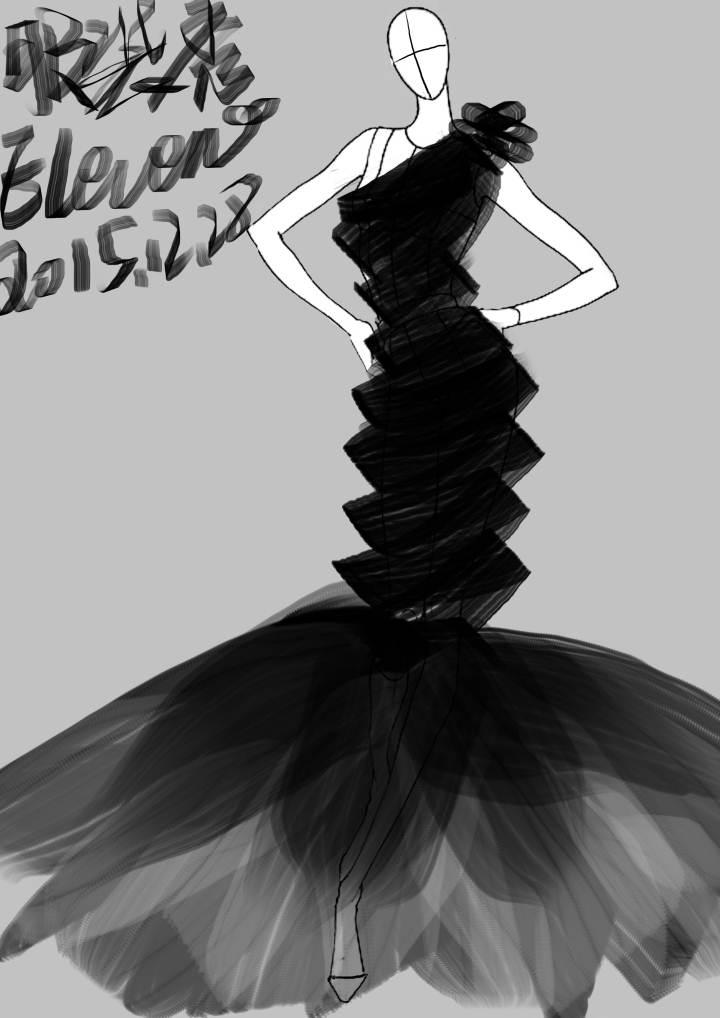 鱼尾黑寡妇礼服-婚纱礼服设计-服装设计