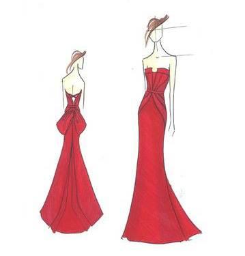 晚礼服设计图片-小清新晚礼服手绘图片|12星座婚纱设计图手稿|长裙