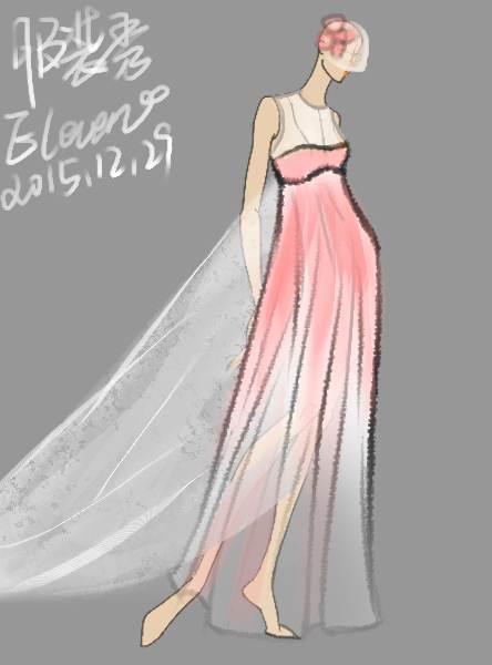 桃花渐变婚纱-婚纱礼服设计-服装设计