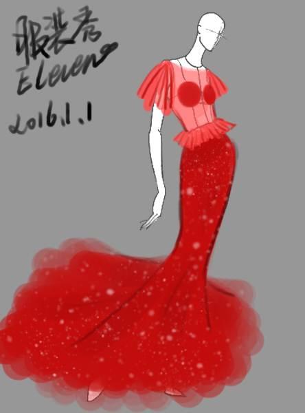 鱼尾透视礼服-婚纱礼服设计-服装设计