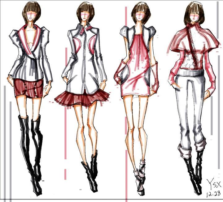 仿馬克筆效果-女裝設計-服裝設計