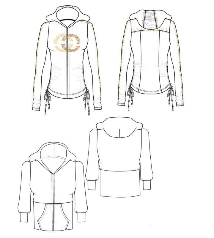 素描手绘女生服装设计图展示