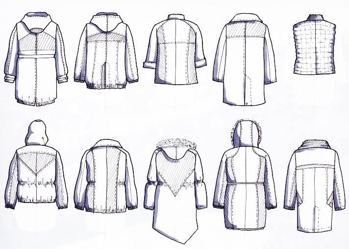 手绘各类棉服·背作品-手绘各类棉服·背款式图
