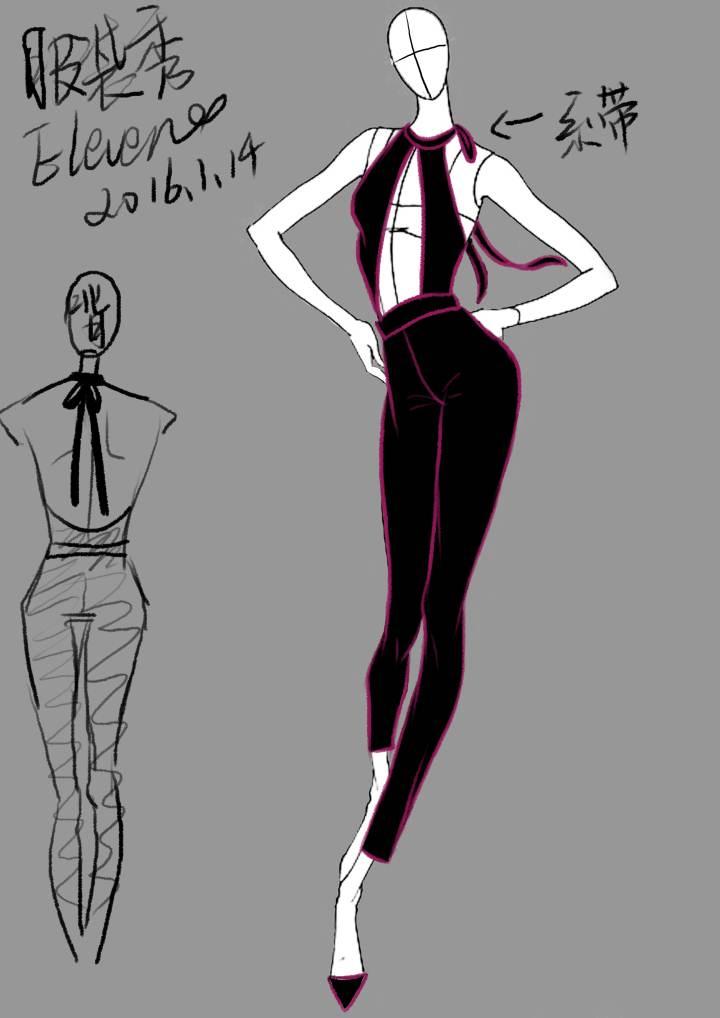 开胸连体裤作品-开胸连体裤款式图