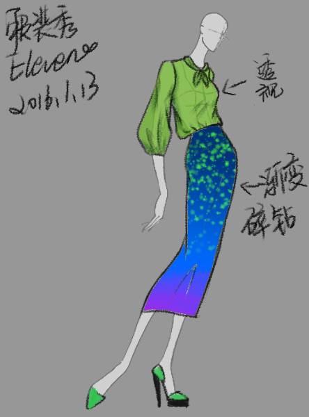 星空渐变半身裙-女装设计-服装设计图片