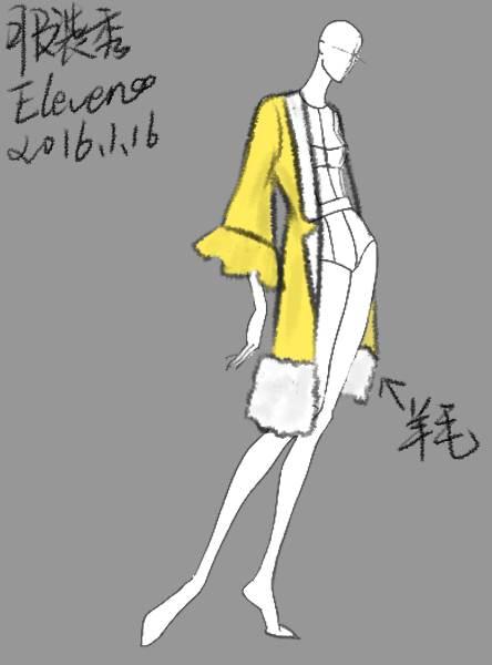 七分袖羊毛荷叶边大衣作品-七分袖羊毛荷叶边大衣款式图