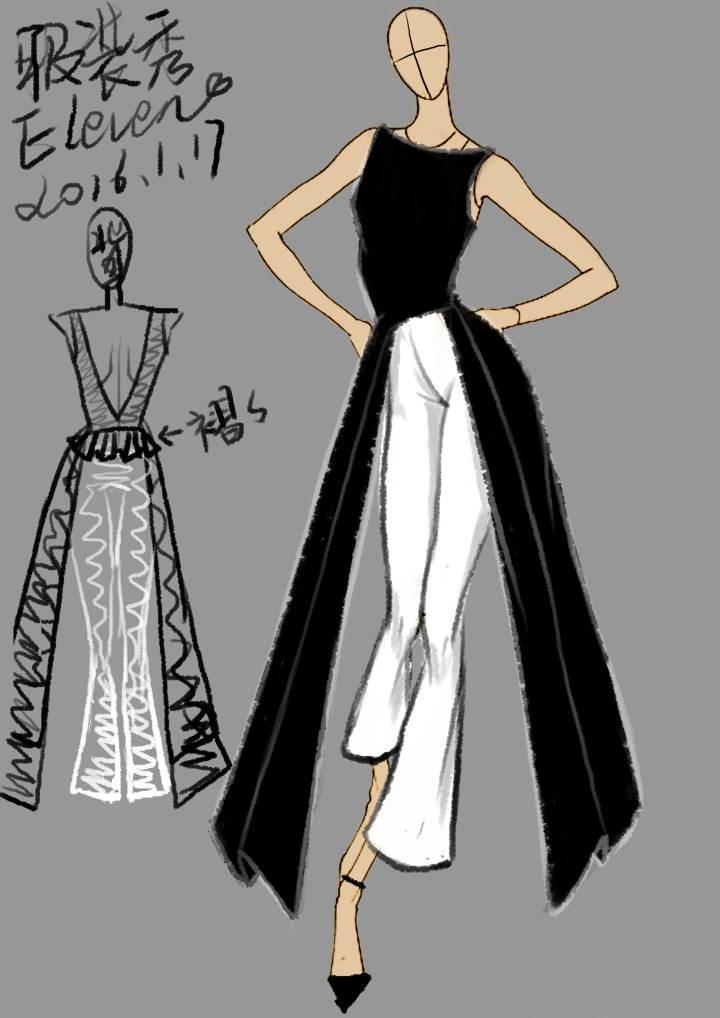 帅气露背裤装礼服-婚纱礼服设计-服装设计
