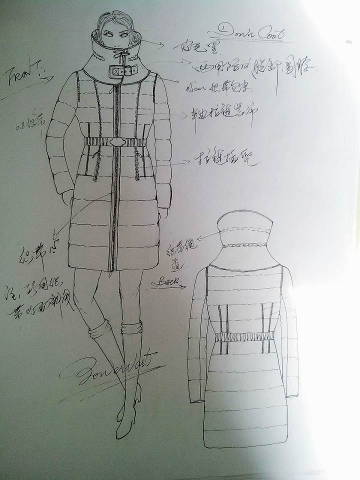 欧美女装羽绒服手稿-女装设计-服装设计