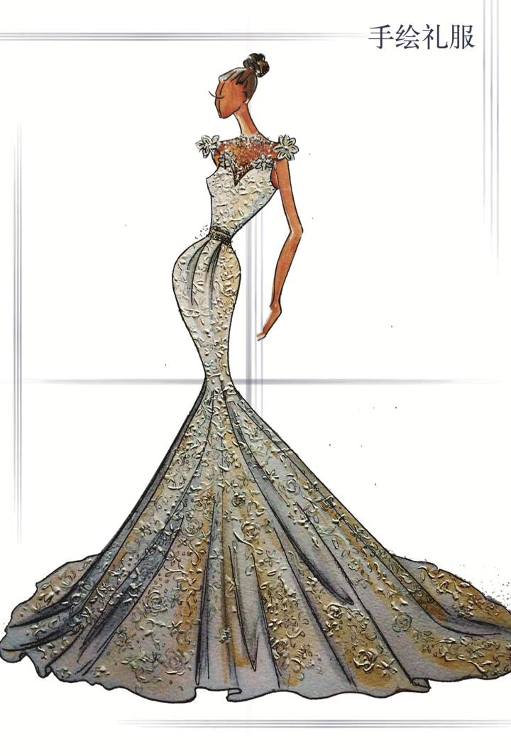 手绘礼服宝宝-婚纱礼服设计-服装设计