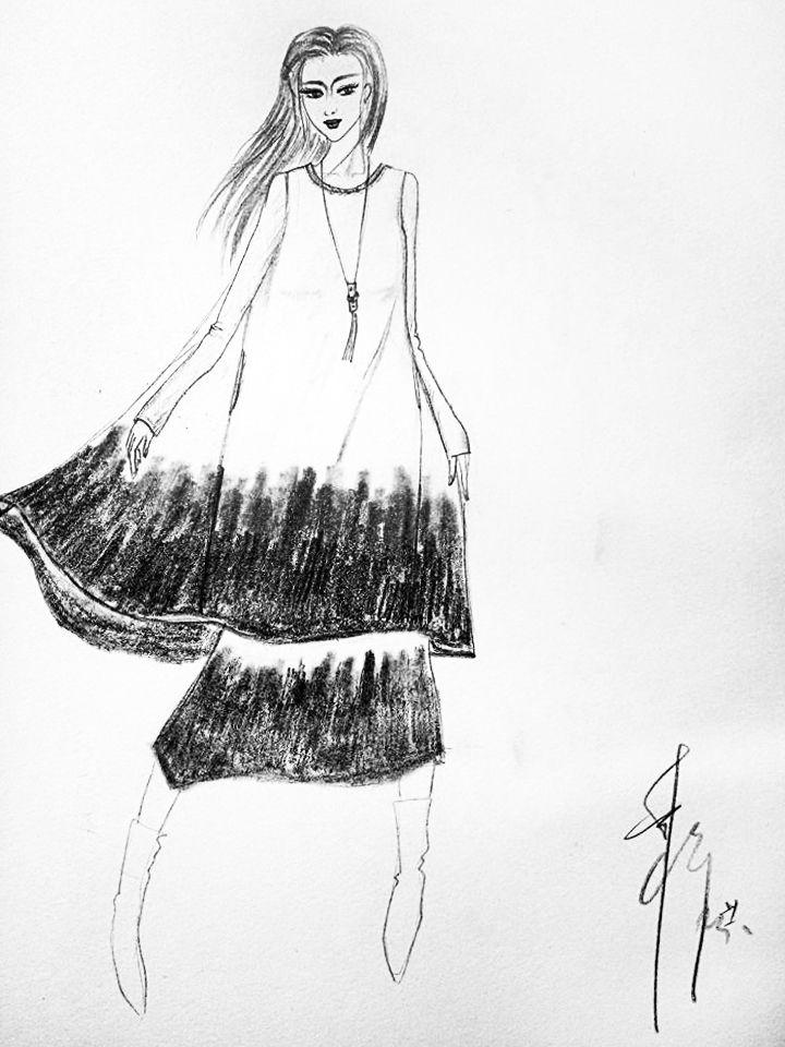 棉麻连衣裙-女装设计-服装设计