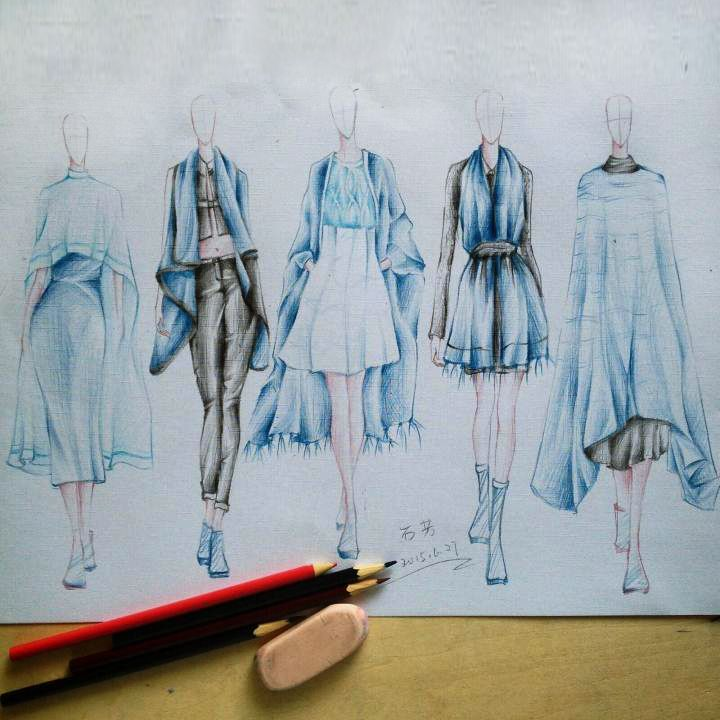手绘系列效果图&cdr版单-大赛作品设计-服装设计