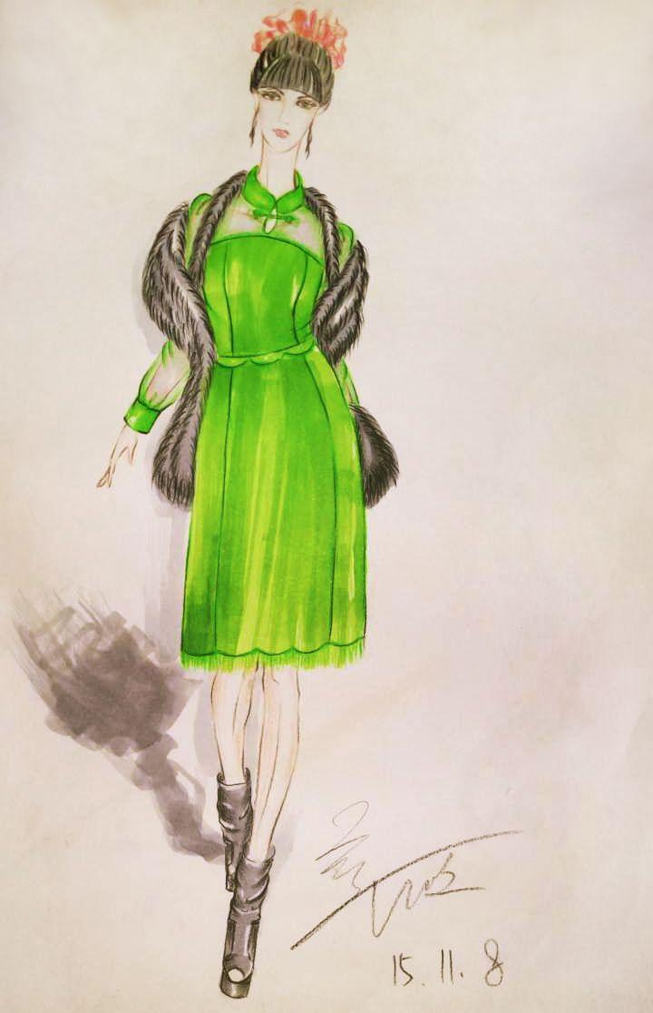 效果图手绘_旗袍设计手稿图-旗袍款式效果图-CFW服装设计