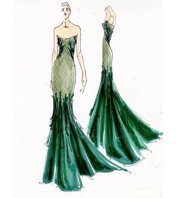 晚礼服作品-晚礼服款式图图片