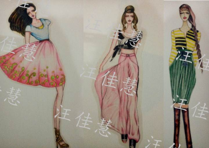 彩铅手稿-女装设计-服装设计