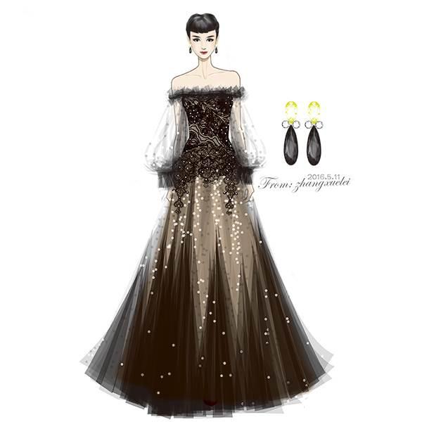 蕾丝裙手绘款式图