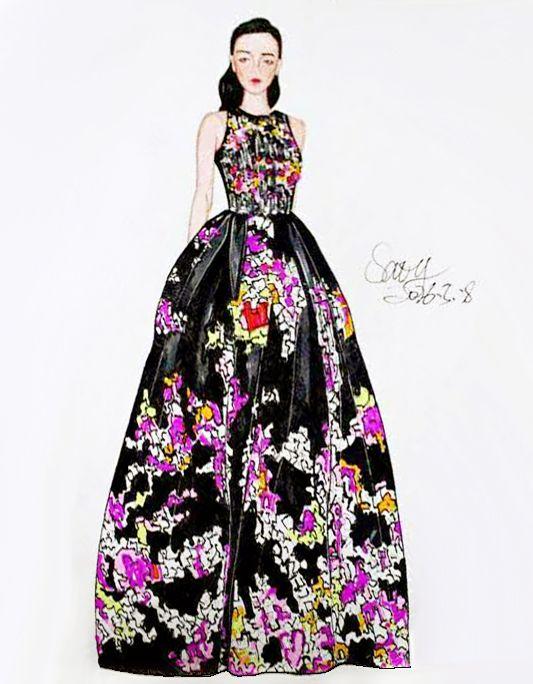 黑粉长裙-婚纱礼服设计-服装设计