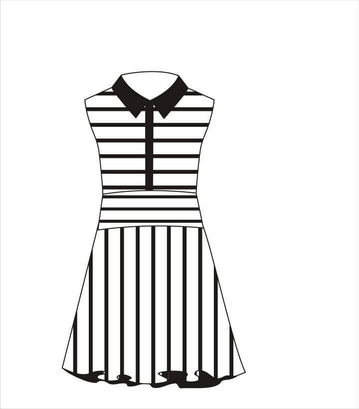 黑白条纹连衣裙-女装设计-服装设计