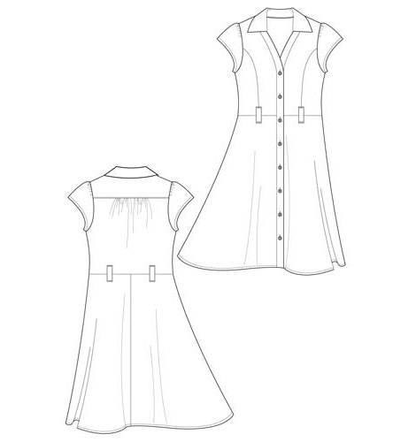 连衣裙款式图-女装设计-服装设计