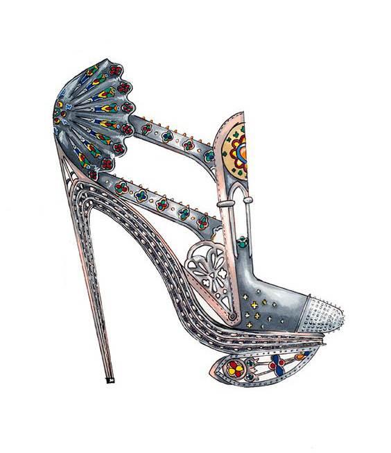鞋履手绘收集-鞋帽配饰设计-服装设计