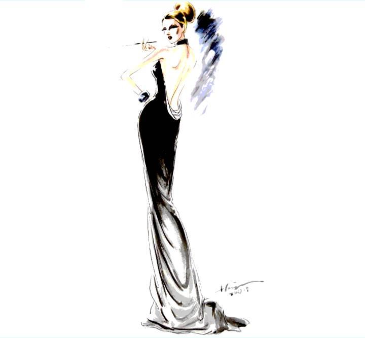 服装画技法效果图-婚纱礼服设计-服装设计