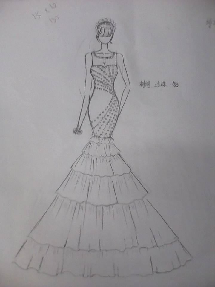 婚纱礼服铅笔稿图片