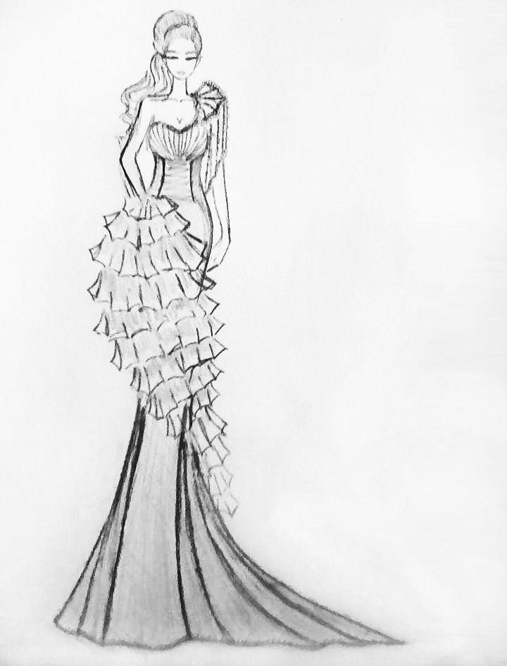 婚纱礼服铅笔稿