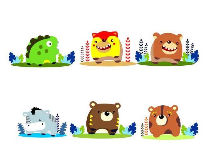 方形卡通动物-图案设计设计-服装设计