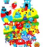 卡通微生菌小怪兽