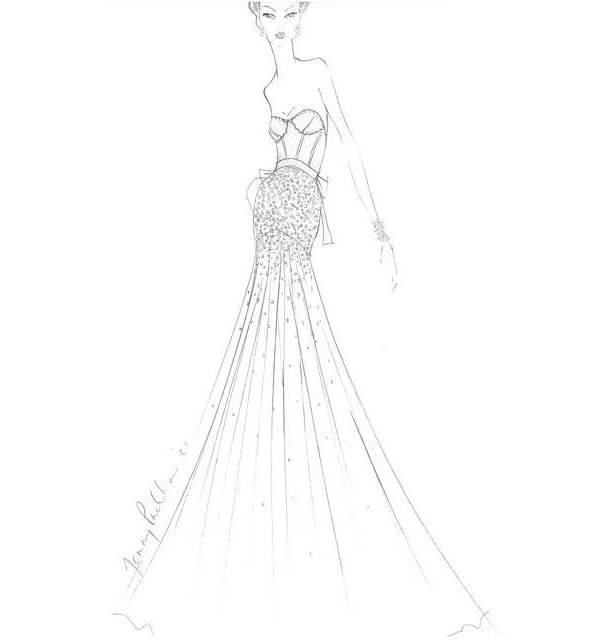 晚礼服线稿搜集-婚纱礼服设计-服装设计