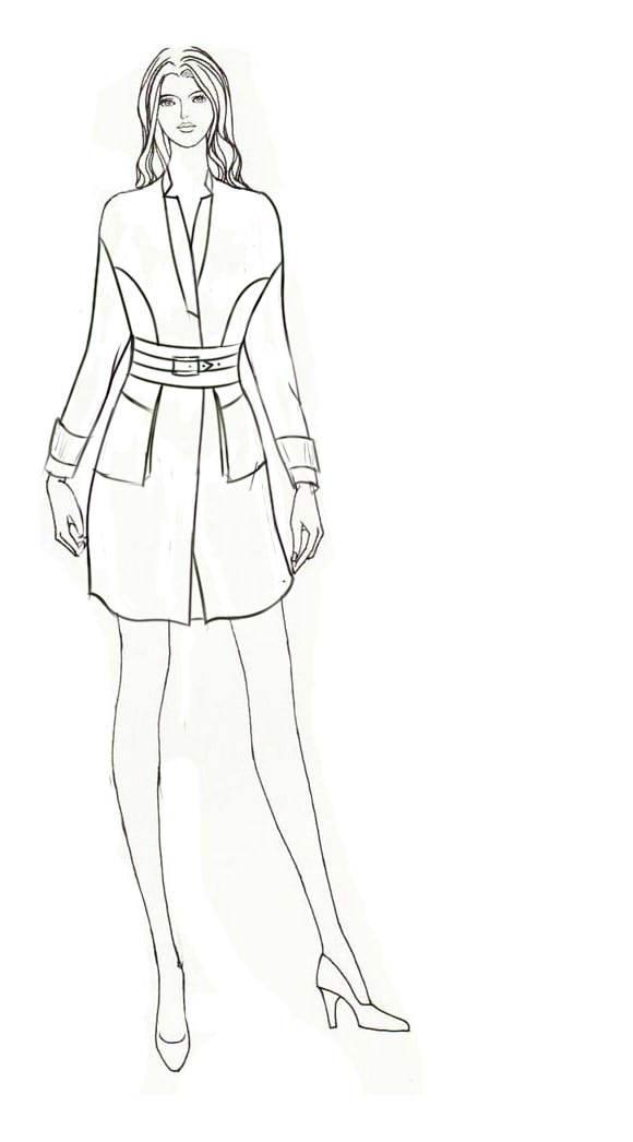 电脑绘制和手绘线稿-女装设计-服装设计
