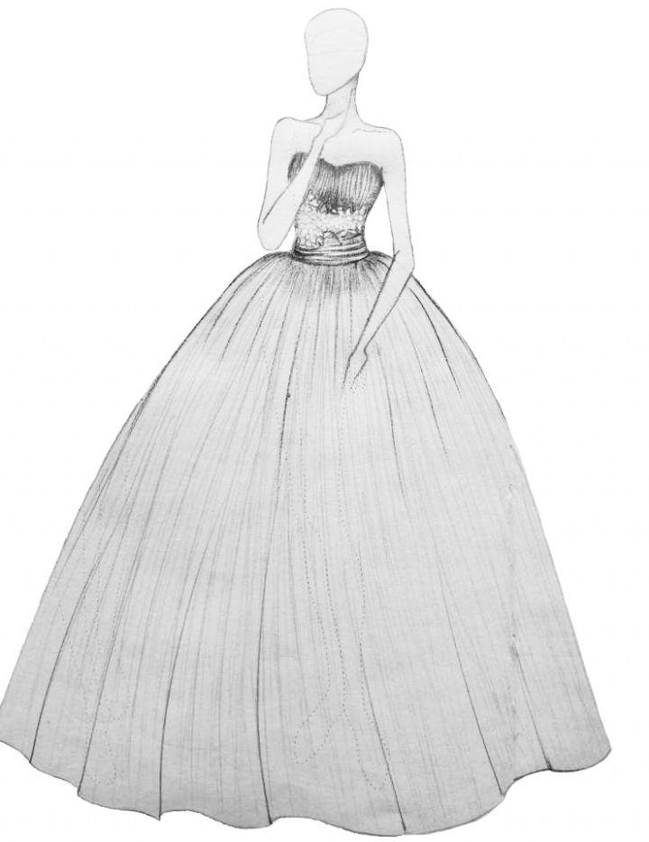 裙子简笔画婚纱