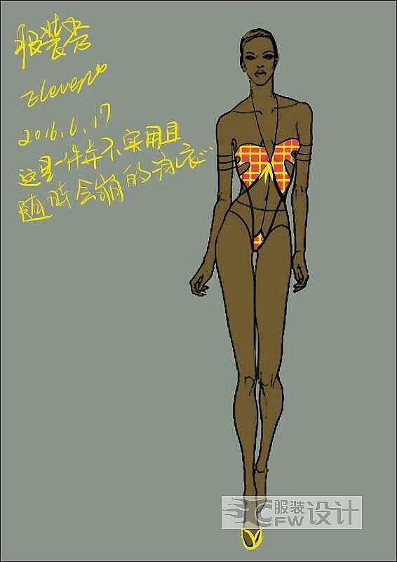 泳装 镂空 格子 性感作品-泳装 镂空 格子 性感款式图