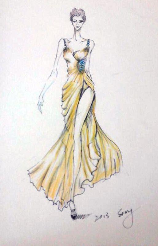 手绘婚纱礼服