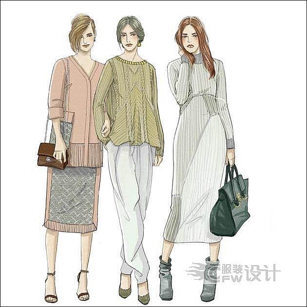 2016秋冬毛织设计效果图-女装设计-服装设计