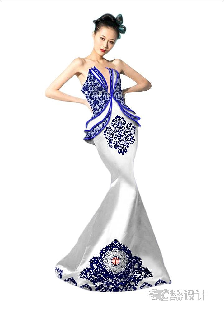 初忆青花瓷-婚纱礼服设计-服装设计