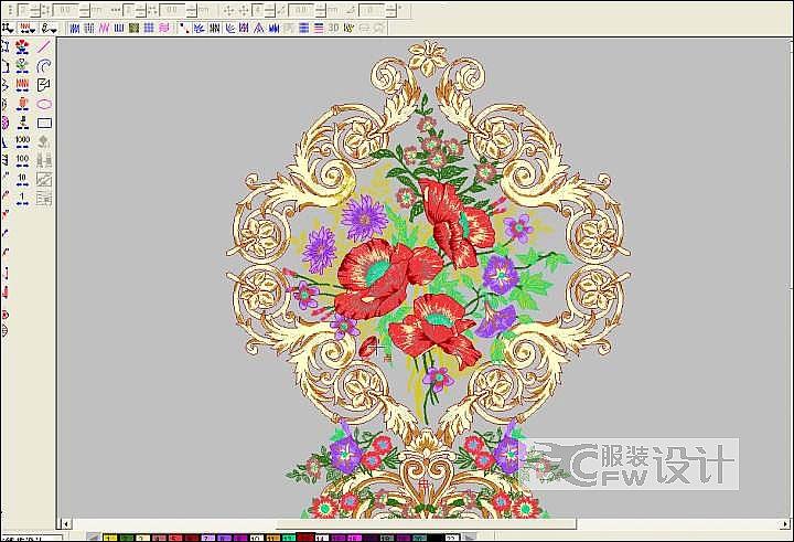 欧式纹样+花卉绣作品-欧式纹样+花卉绣款式图