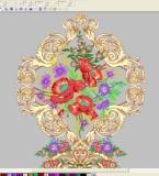 欧式纹样+花卉绣