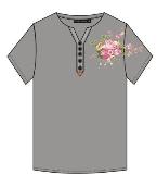 牡丹印花T恤