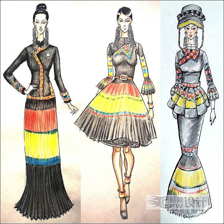 彝族风格女装设计作品-彝族风格女装设计款式图