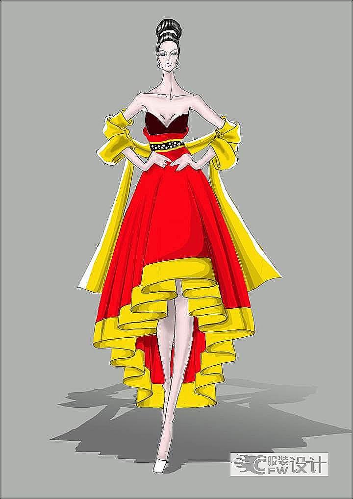 中国风女装礼服设计作品-中国风女装礼服设计款式图