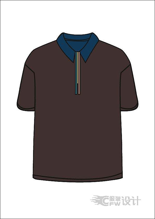 翻领彩条-男装设计-服装设计