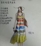 服装设计条纹效果图