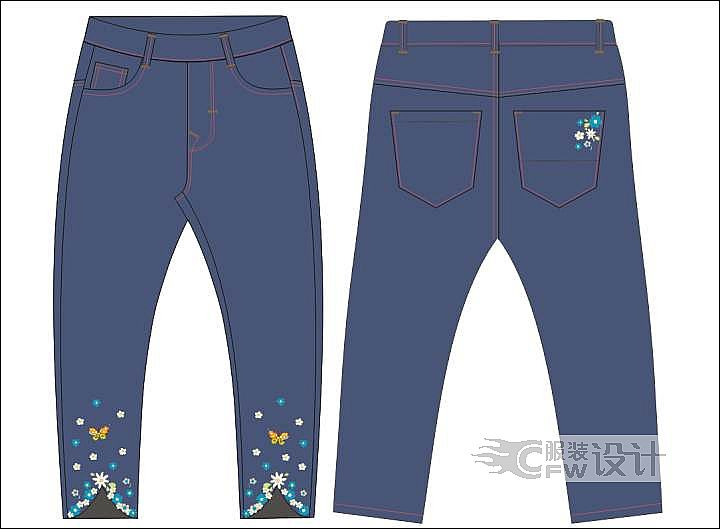 牛仔童裤作品-牛仔童裤款式图