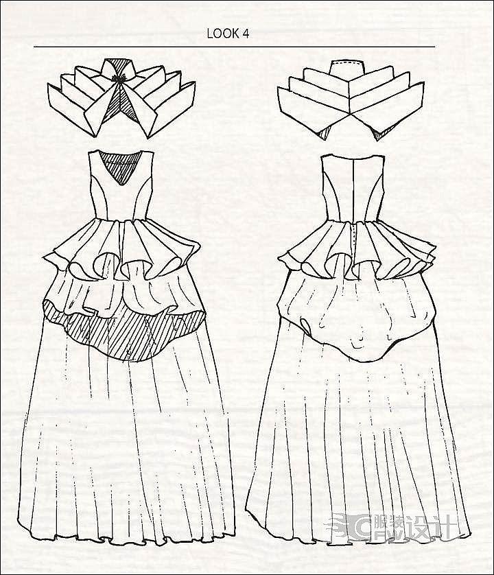 礼服款式图正反面手绘