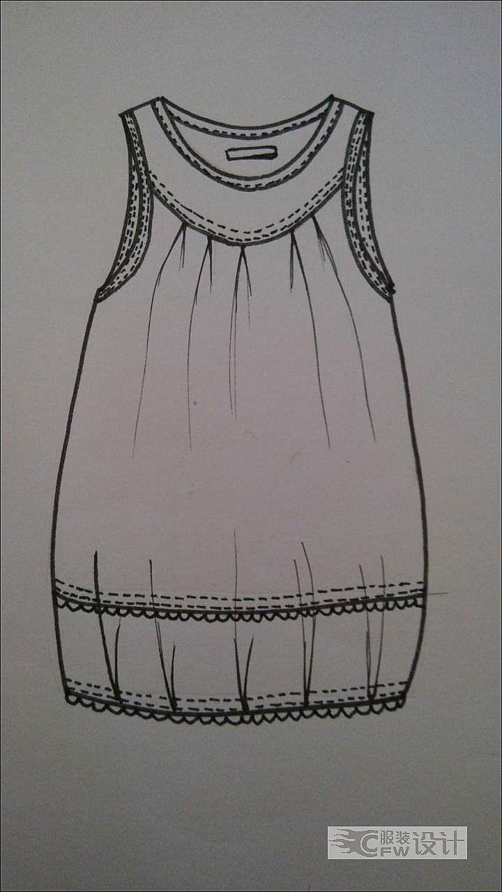 背心款式图手绘