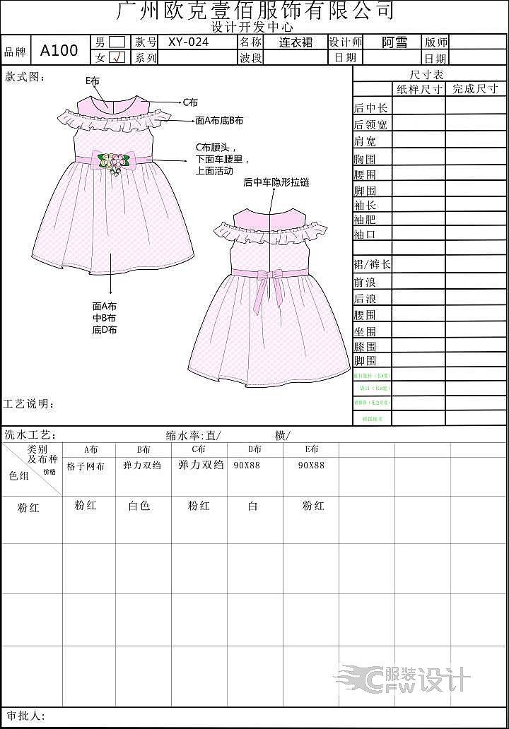 女童连衣裙作品-女童连衣裙款式图